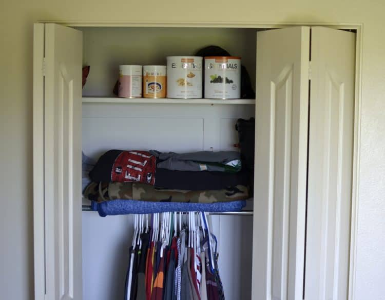 clothes closet for food storage