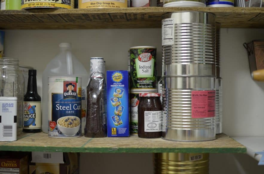 creating shelves with food storage