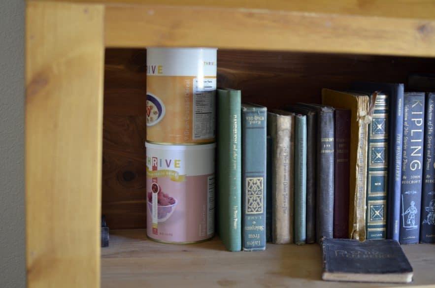 food storage on a book shelf