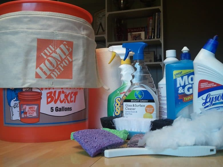 essentials in the cleaning bucket