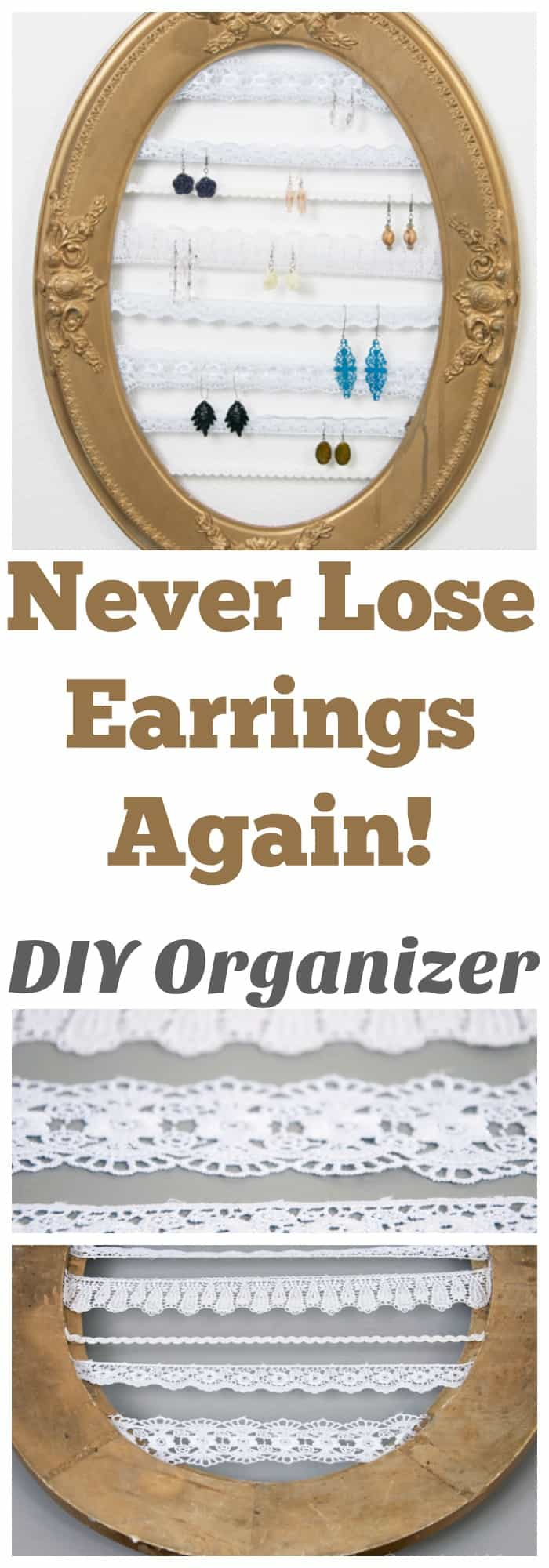I love this earring organizer! It literally took  and 5 minutes!  DIY HOME ORGANIZATION - JEWELRY