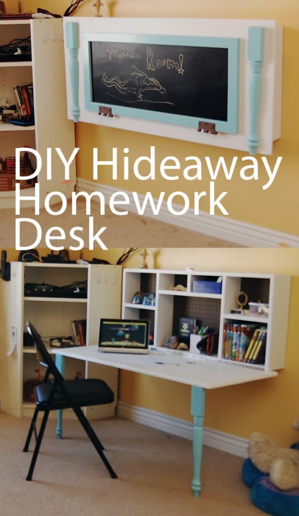 DIY Hideaway Homework wall desk