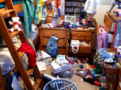 messy room teaching kids to let go of stuff