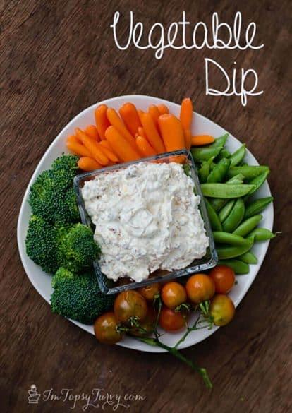 food, vegetable dip, bacon, cheese