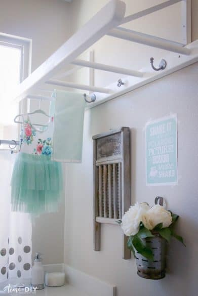 ladder hooks in laundry room