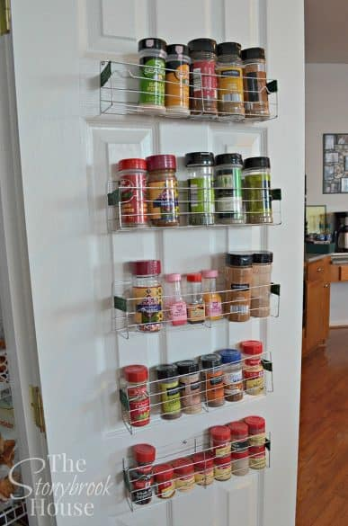 spices on inside of pantry door