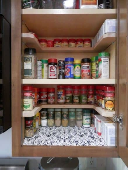 spice cupboard with shelves