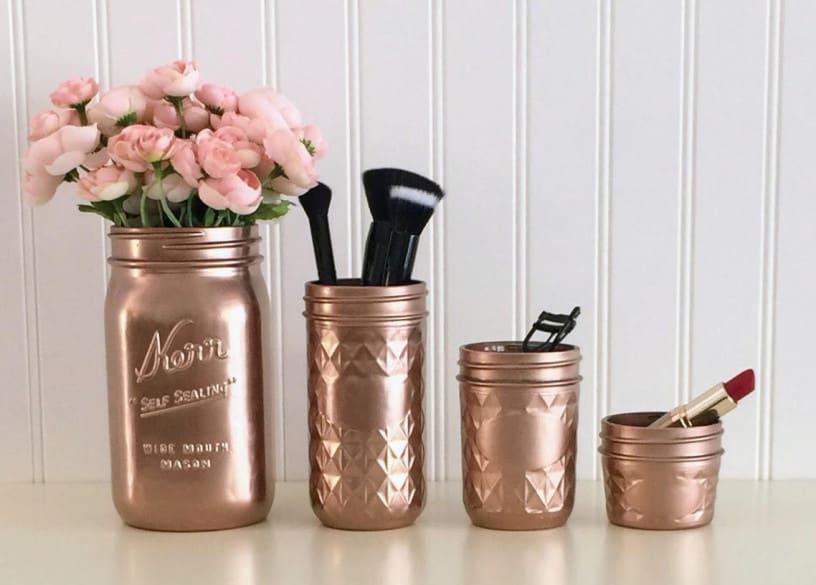 makeup brushes in jars