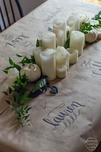 candles tablescape