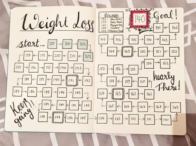 Bullet journal weight loss progress chart