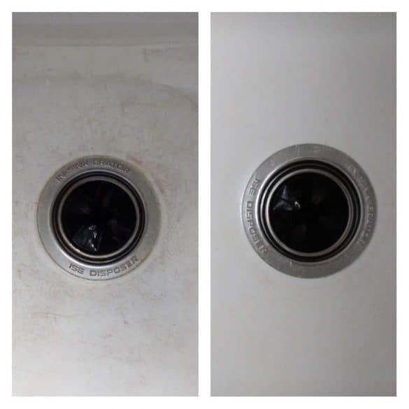 clean scratched enamel sink