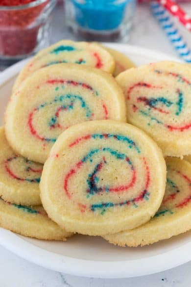 4th of july spiral cookies
