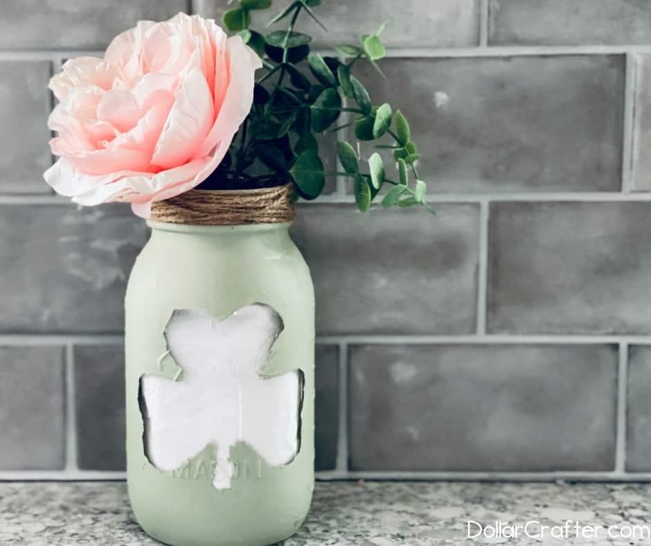 st Patrick's day painted mason jar