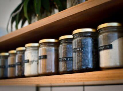 organize kitchen cupboards spice jars