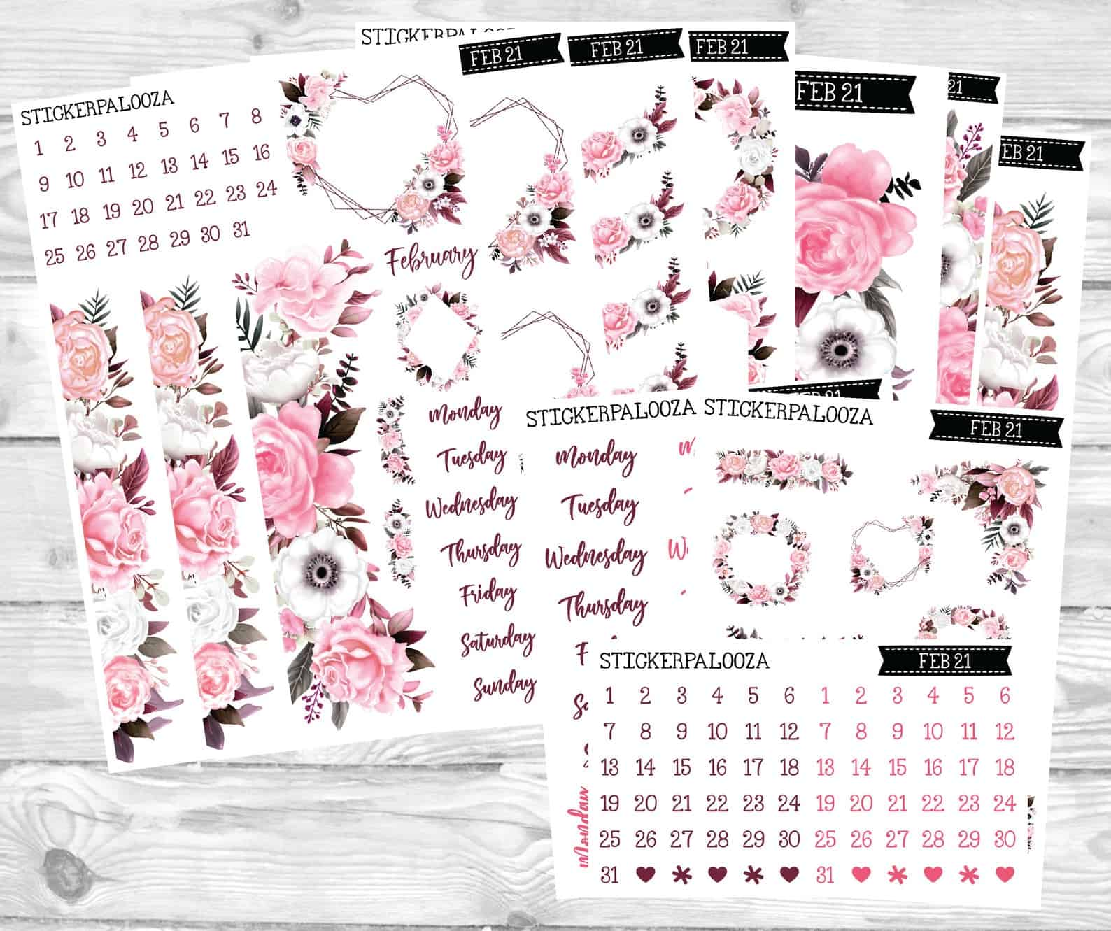 February bullet journal stickerpalooza