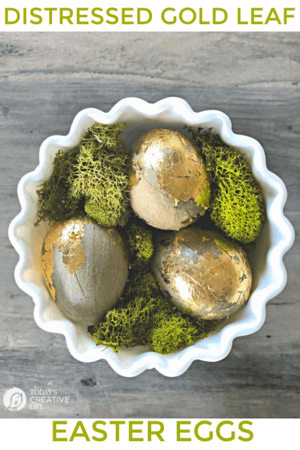 diy gold leaf egg easter decoration