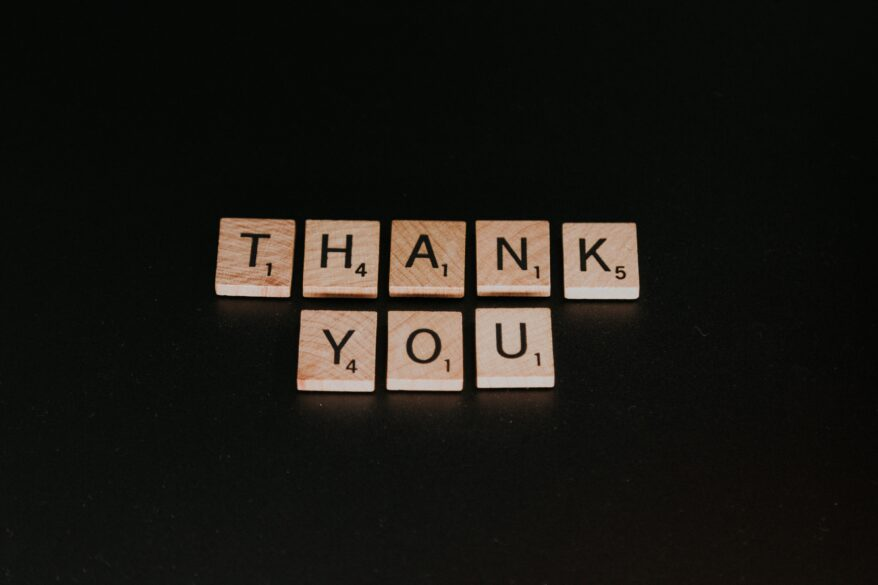 Thank You spelled out in Scrabble letters. 3 Easy Ways To Start Practicing Gratitude Today