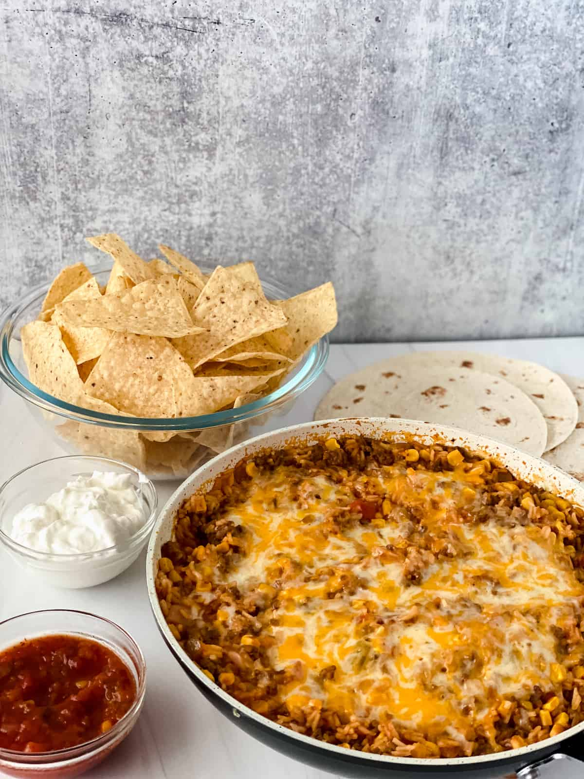 Mexican rice skillet with chips and salsa