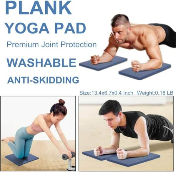 3 people using pads under their arms and knees while doing planks and other exercises.