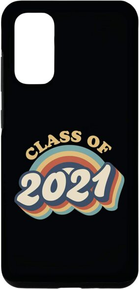 """Galaxy phone case with the words, """"Class of 2021"""" in retro colors."""