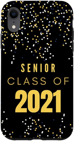 """iPhone case in black with confetti that says, """"SENIOR CLASS OF 2021"""""""