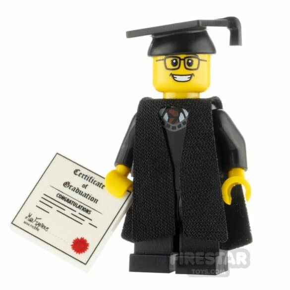 Lego mini-figure in cap and gown with a diploma.
