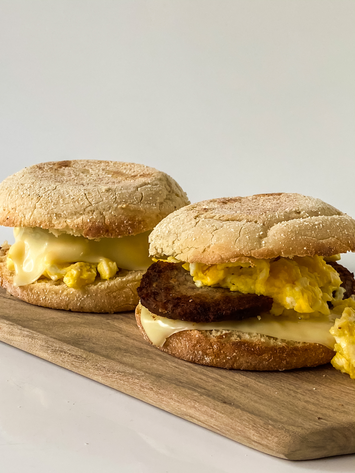 home made English muffin breakfast sandwich