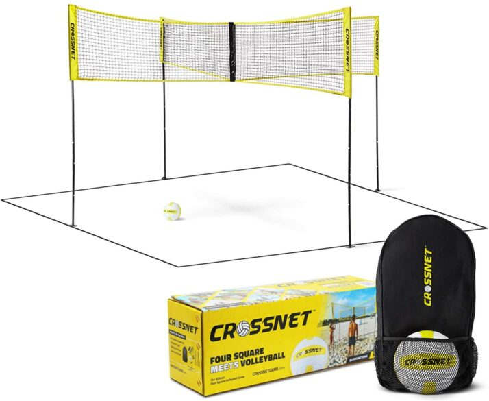 CROSSNET game set up with carrying bag.