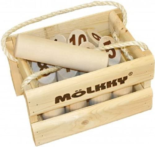 Mölkky game pins in their carrying case. family reunion games