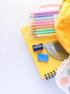 backpack full of school stuff