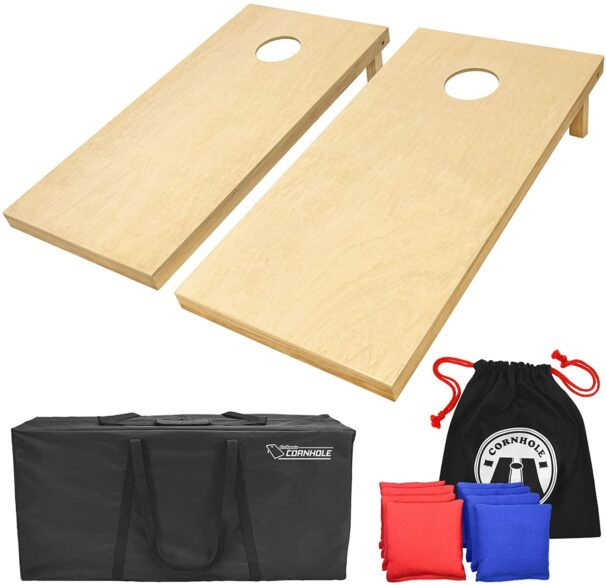 Two cornhole boards with red and blue bean bags and carrying case. family reunion games