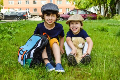 two boys with backpacks