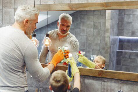 dad-son-bathroom--Teach Your Kids to Clean the Bathroom