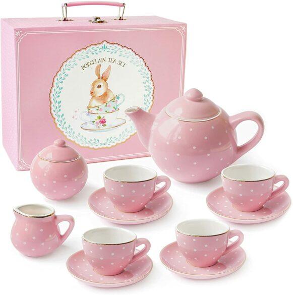 A pink polk-a-dot children's tea set.