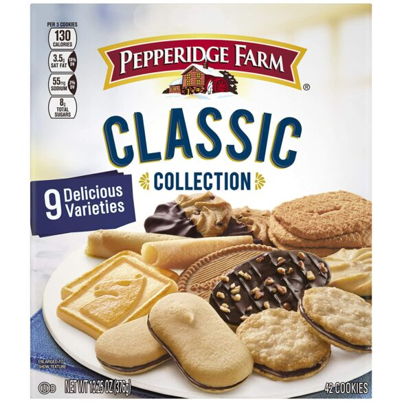 Box of Pepperidge Farm variety cookies.
