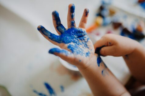 painted hand activities for 2-year-olds