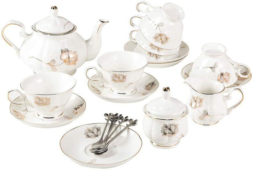 An adult porcelain tea set.