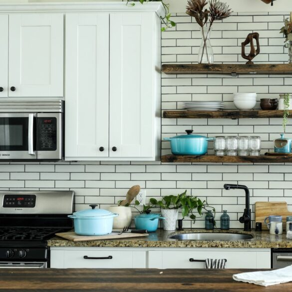 kitchen with white cabinets; organize the kitchen in your new home